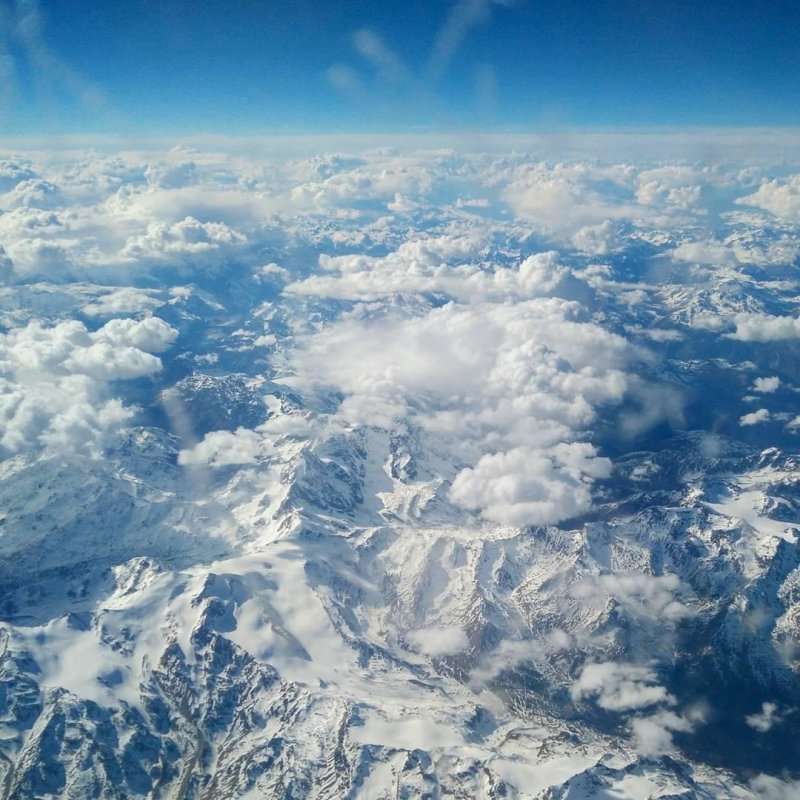 The Alps looked lovely today.