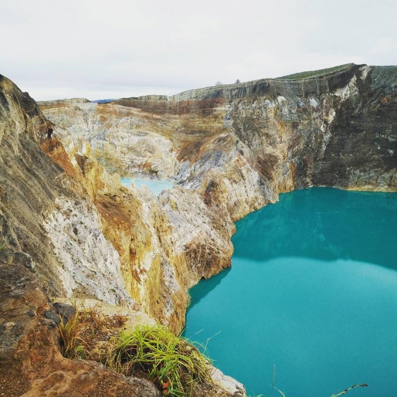 3-colored crater lakes on the Mt. Kelimutu volcano